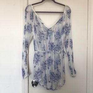 Free People Sheer Ivory Blue Floral Tunic Top S